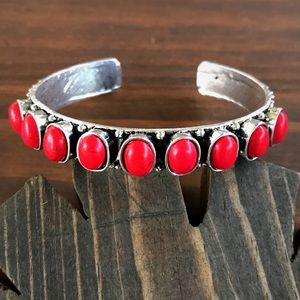 Jewelry - Silver & Red Turquoise Cuff Bracelet